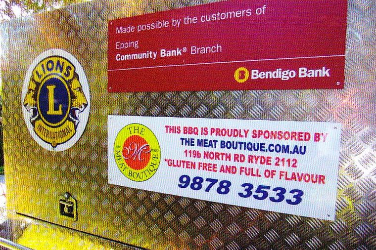 Bendigo Bank Sign on our BBQ Trailer